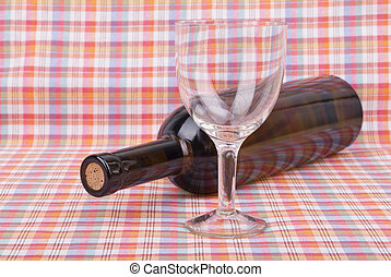 Bottle of wine on the table.