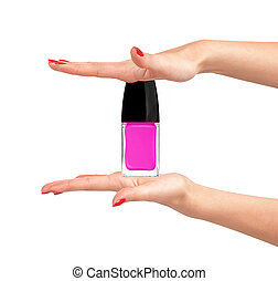 pink nail polish in woman hands on white background