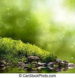 Green nature background - Square background with grass,...