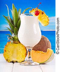 cóctel, pina, colada, fresco, frutas