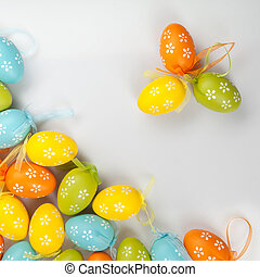 color easter eggs on white