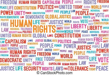 mänsklig, rättigheten, ord, moln