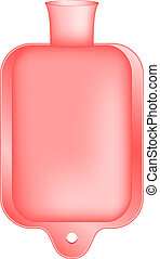 Hot water bottle in light red design on white background
