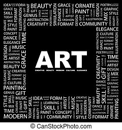 ART Word cloud illustration Tag cloud concept collage