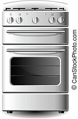 Kitchen stove - White Kitchen stove from front view isolated...