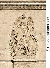 Statues on the Arc de Triomphe in Paris