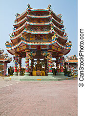 Part of beautyful Chinese shrine and the blue sky, Chonburi- East of Thailand