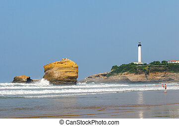 Biarritz beach and lighthouse