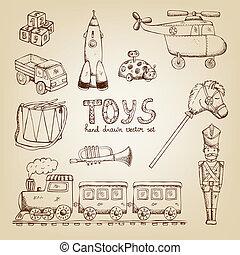 vintage hand drawn toys set: train drum soldier trumpet