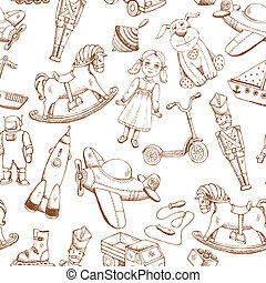 vintage hand drawn toys pattern - vintage hand drawn toys...