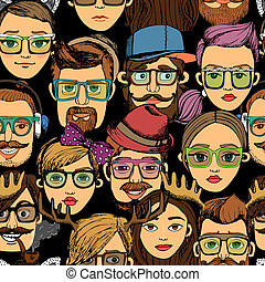hipster faces seamless background print pattern deer with...