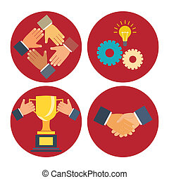 partnership and cooperation icons - partnership and...