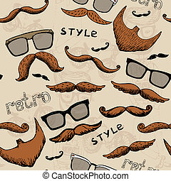 retro pattern - retro seamless pattern with glasses and a...