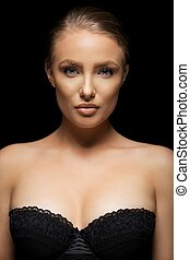Stunning young model in black bra - Beauty portrait of...