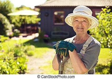 Retrato, femininas, jardineiro, jardim