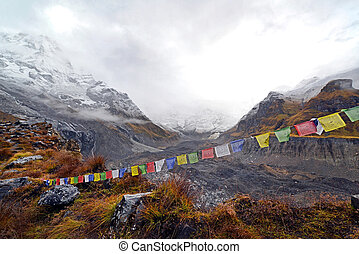 Storm in the Annapurna Base Camp, Nepal - Cloudy weather and...