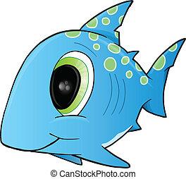Cute Shark Vector Illustration Art