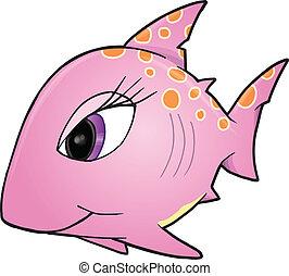 Pink Girl Shark Vector Illustration