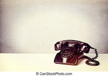 Old Vintage Black Telephone .Vintage filter added