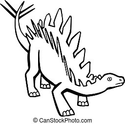 Stegosaurus - line drawing stegosaurus dinosaur view from...