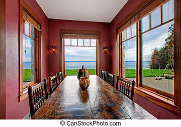 Burgundy rectangle dining room - Antique style dining room...