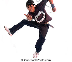 breakdance with music player