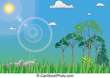 Cartoon Landscape with trees in front of terms and grass and...