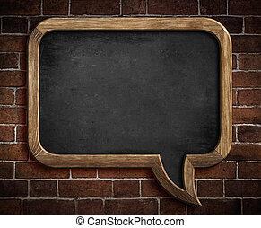 fala, bolha, quadro-negro, tijolo, parede, fundo