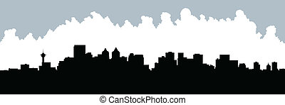 Calgary Skyline - Skyline silhouette of the city of Calgary,...