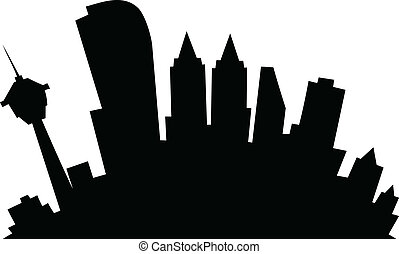 Cartoon Calgary - Cartoon skyline silhouette of the city of...