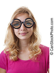 Portrait of girl with funny glases over white background