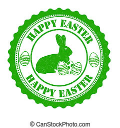 Happy easter stamp - Happy easter grunge rubber stamp on...