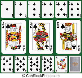 Club suit large figures - Playing cards, club suit, joker...