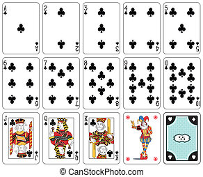 Club suit - Playing cards, club suit, joker and back