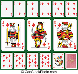 Diamond suit large figures - Playing cards, diamond suit,...
