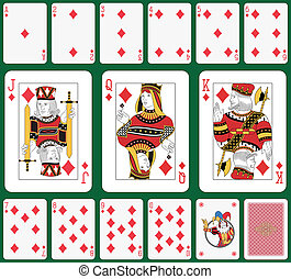 Diamond suit - Playing cards, diamond suit, joker and back....