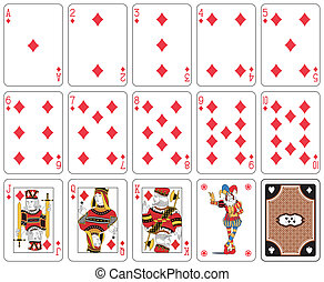 Diamond suit - Playing cards, diamond suit, joker and back