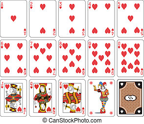Isolated Heart suit - Playing cards, heart suit, joker and...