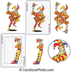 Jokers set - Set of jokers playing card. Isolated, framed...