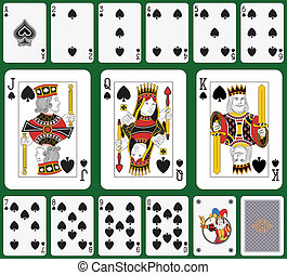 Spade suit large figures - Playing cards, spade suit, joker...