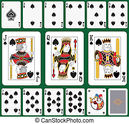 Spade suit - Playing cards, spade suit, joker and back....
