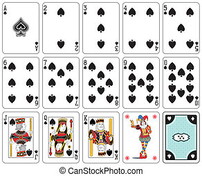 Spade suit - Playing cards, spade suit, joker and back