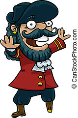 Happy Pirate Captain - A happy cartoon pirate captain with a...