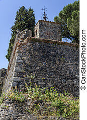 Hostalrich, Girona Spain - detail of defensive wall of the...
