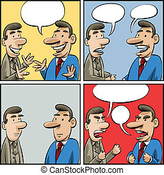 Conversation Panels - Set of cartoon panels of two...