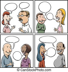 Conversation Panels - Set of cartoon panels of a variety of...