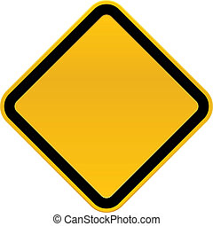 Blank Caution Sign - A blank, cartoon caution sign