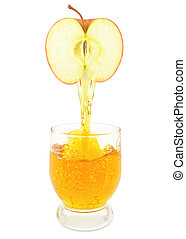 apple juice - Fresh apple juice flowing from apple into the...