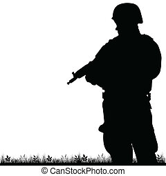 soldier in the nature vector illustration