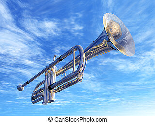 Trumpet in New Orleans - Computer generated 3D illustration...